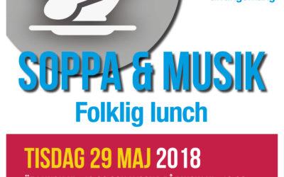 29 MAJ KL 12.30 SOPPA & MUSIK – FOLKLIG LUNCHKONSERT